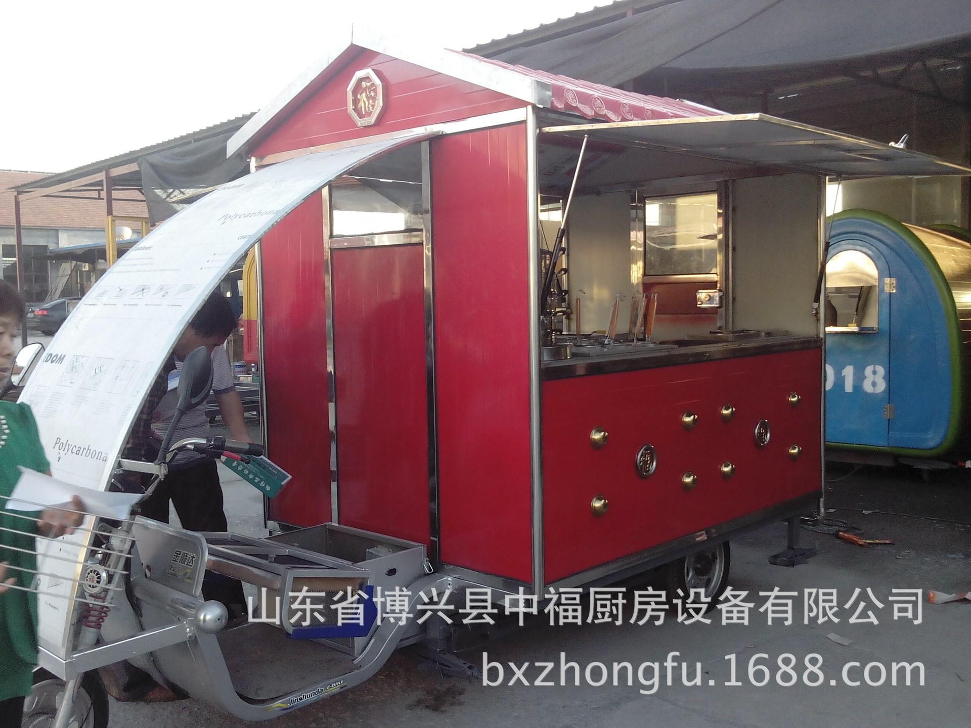 仿古电动餐车小吃车美食车烧烤快餐车手推房车