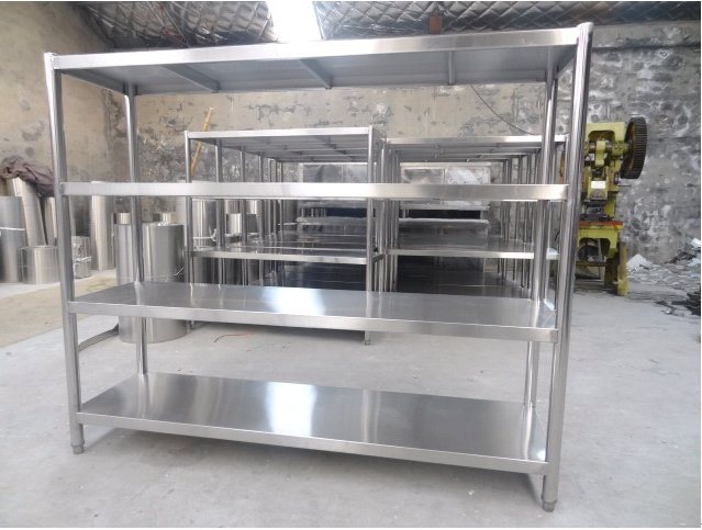四层平板货架/不锈钢货架/置物架/食堂货架/厨房四层货架