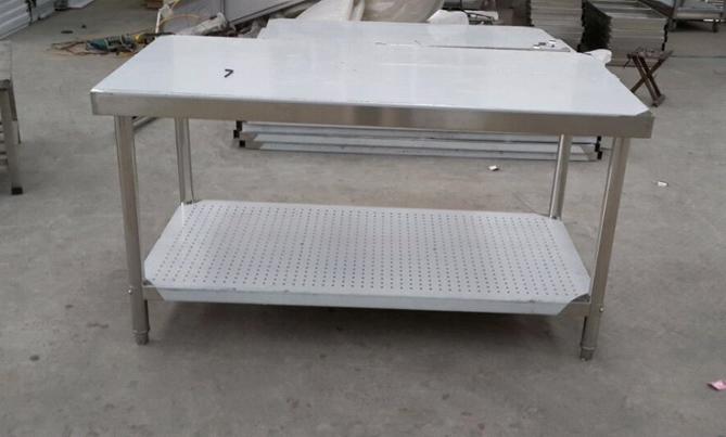 201材料不锈钢双层平板案板台切菜台工作台组装操作台