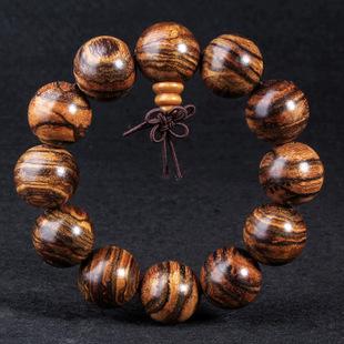 天然清香虎斑纹花奇楠佛珠手链手串 木质工艺品批发