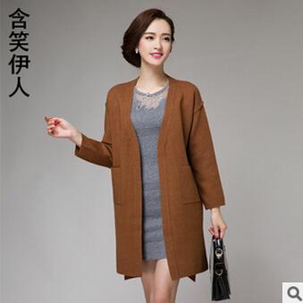 2015秋装新款羊毛针织开衫毛衣女式中长款欧美开衫外套女厂家直销
