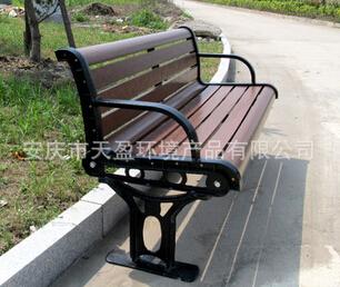 户外景观工程公园座椅 塑胶木户外休闲座椅 广场坐椅 铸铁公园椅