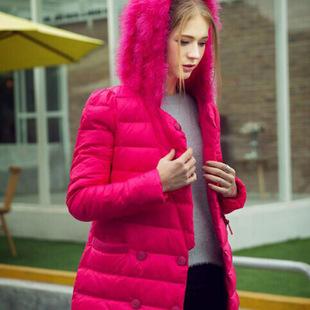 2015欧洲站爆款羽绒服 修身时尚鸵鸟毛帽子 娜美星野专柜正品