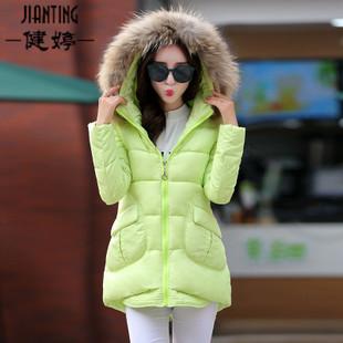 现货2015秋冬新品女装 韩版白鸭绒时尚中长款宽松型羽绒服批发