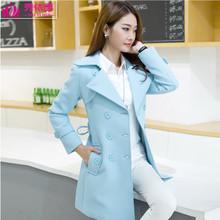 秀依惠新品秋冬季女装韩版修身风衣女纯色中长款大衣女式外套