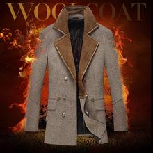 男装毛呢大衣男士外套风衣秋冬季新款韩版修身中长款加厚呢子大衣
